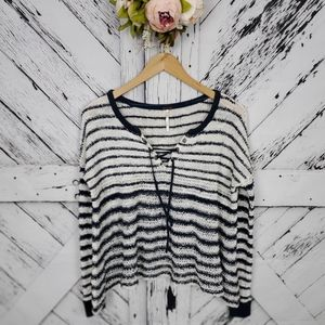 Free People White Navy Blue Striped Sweater